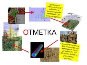 Då märkningssystemet OtmetkaID är koordinatsatt kan data från varje träd även användas som facit på gjorda prognoser med fjärranalysdata.