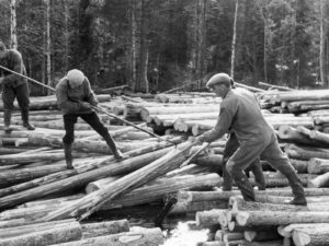 When driving timber, marking axes were used to secure ownership of the logs.